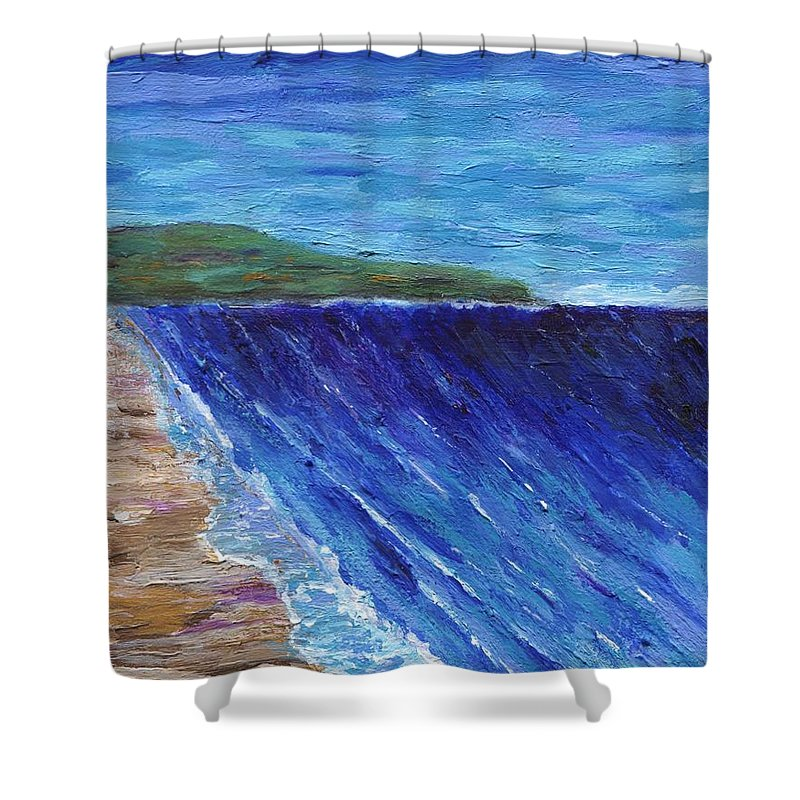 Seascape Shower Curtain featuring the painting Beautiful Palos Verdes 2 by Jamie Frier