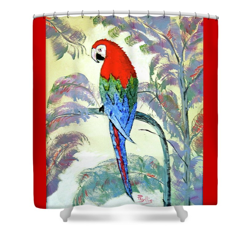 Red Shower Curtain featuring the painting Beautiful Parrot For Someone Special by Phyllis Kaltenbach