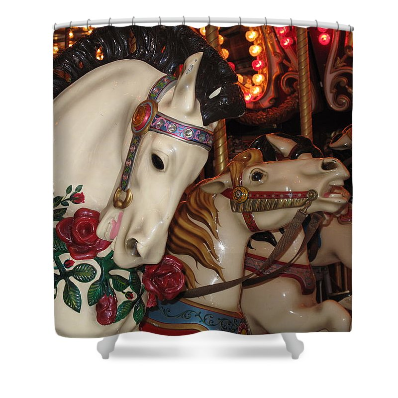 Carousel Shower Curtain featuring the photograph Beautiful Ponies Rwp Carousel by Barbara McDevitt