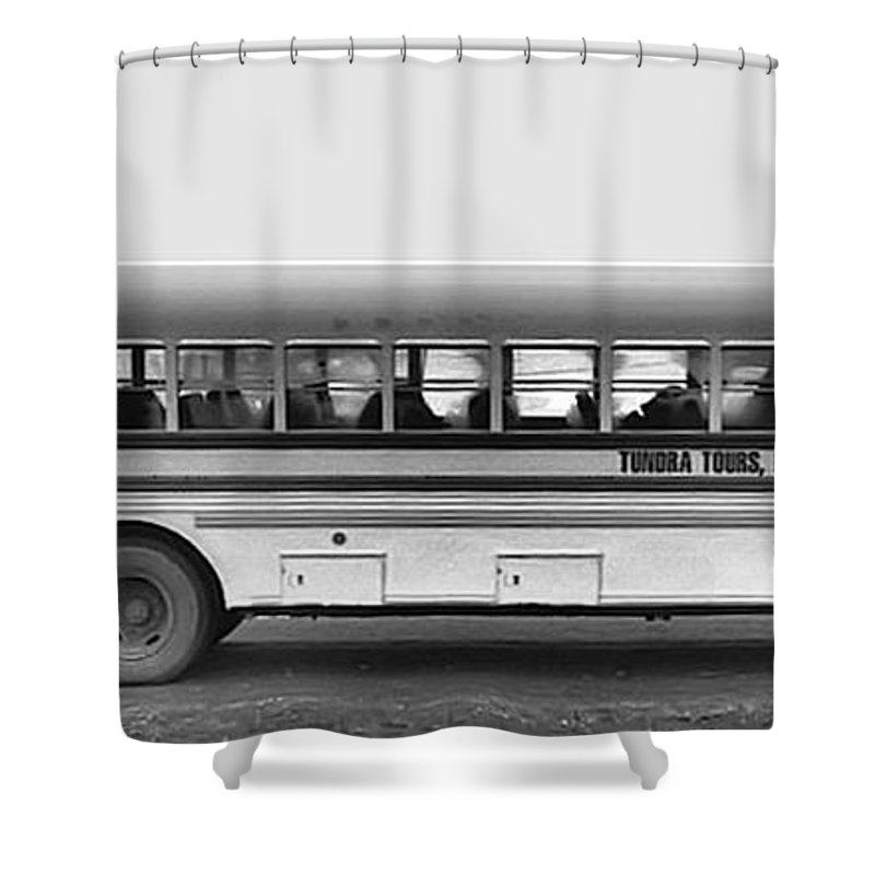 Film Black And White Photo Shower Curtain featuring the digital art Beautiful Tour Bus At Barrow by Tim Richards