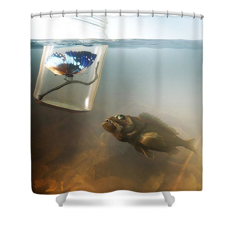 Butterfly Shower Curtain Featuring The Digital Art Beauty And Beast By Cynthia Decker