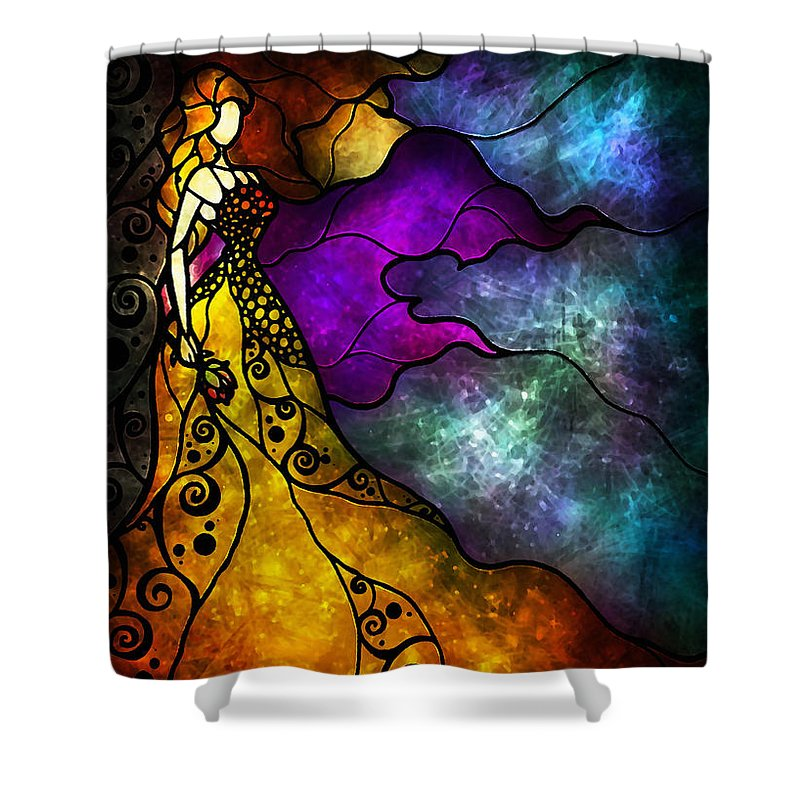 Beauty And The Beast Shower Curtain Featuring Painting By Mandie Manzano