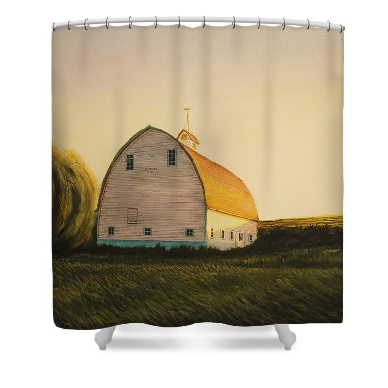 Landscape Shower Curtain featuring the painting Becker Barn by Leonard Heid