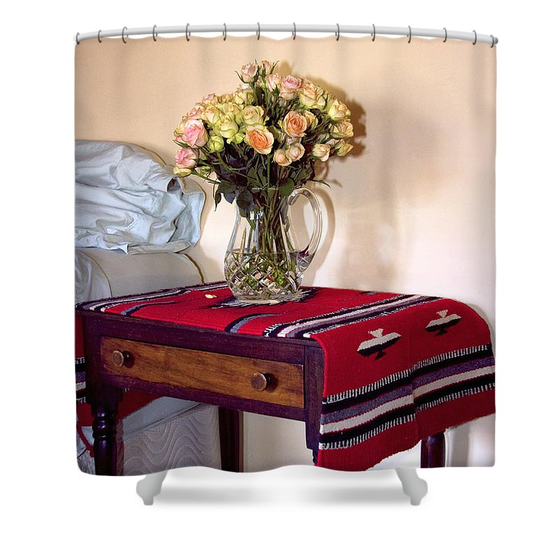 Still Life Shower Curtain featuring the photograph Bedside Desert Roses Palm Springs by William Dey