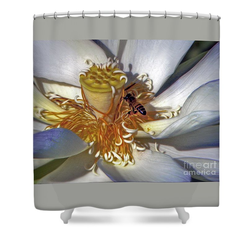 Bee Shower Curtain featuring the photograph Bee On Lotus by Savannah Gibbs