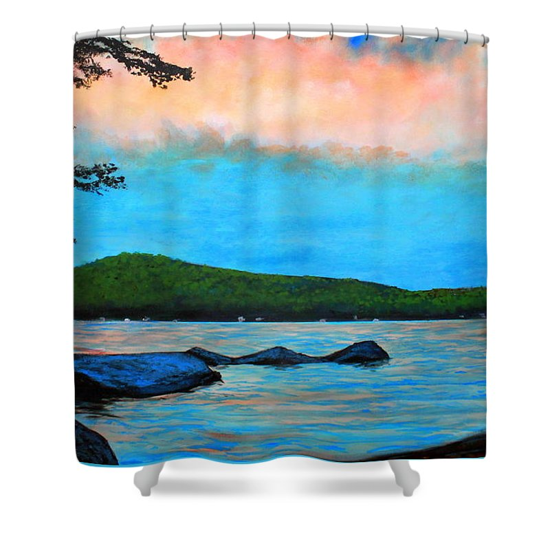 Beech Hill Pond Shower Curtain featuring the painting Beech Hill Pond by William Tremble