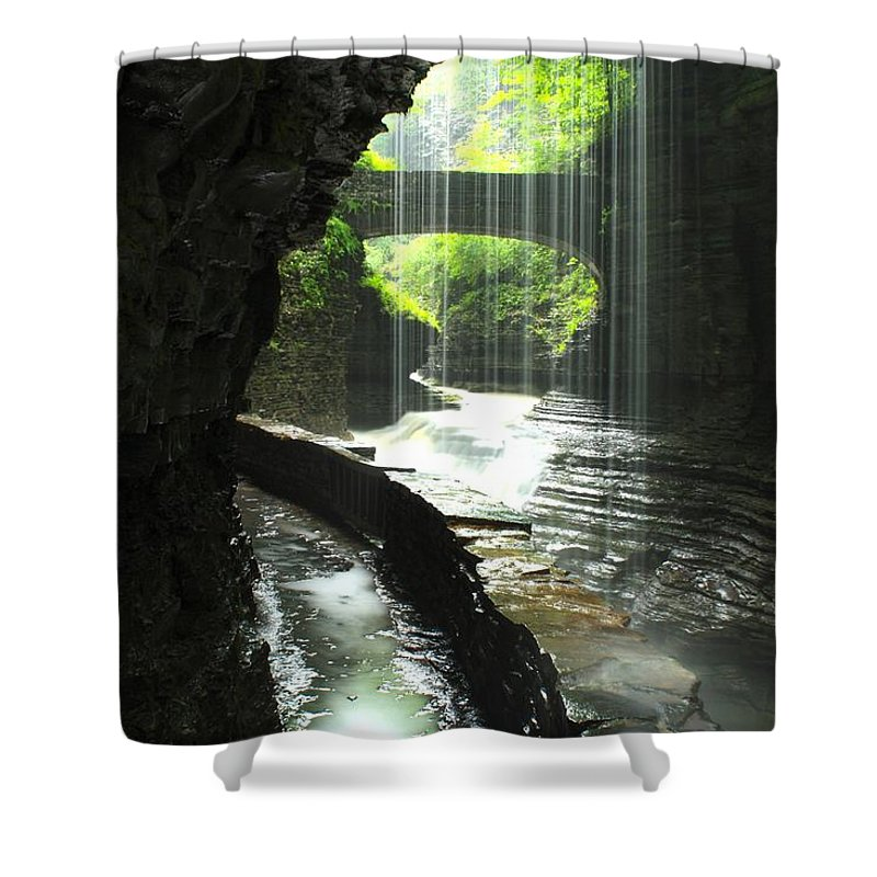 Canyons Shower Curtain featuring the photograph Behind Rainbow Falls by Nunweiler Photography