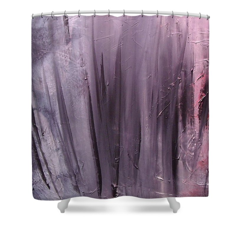 Abstract Shower Curtain featuring the painting Behind shadows by Sergey Bezhinets