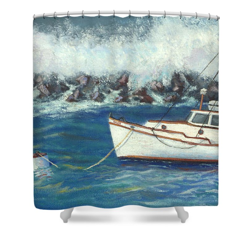 Ocean Shower Curtain featuring the painting Behind The Breakwall by Jerry McElroy