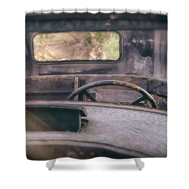 Abandoned Shower Curtain featuring the photograph Behind The Wheel by Peter Tellone