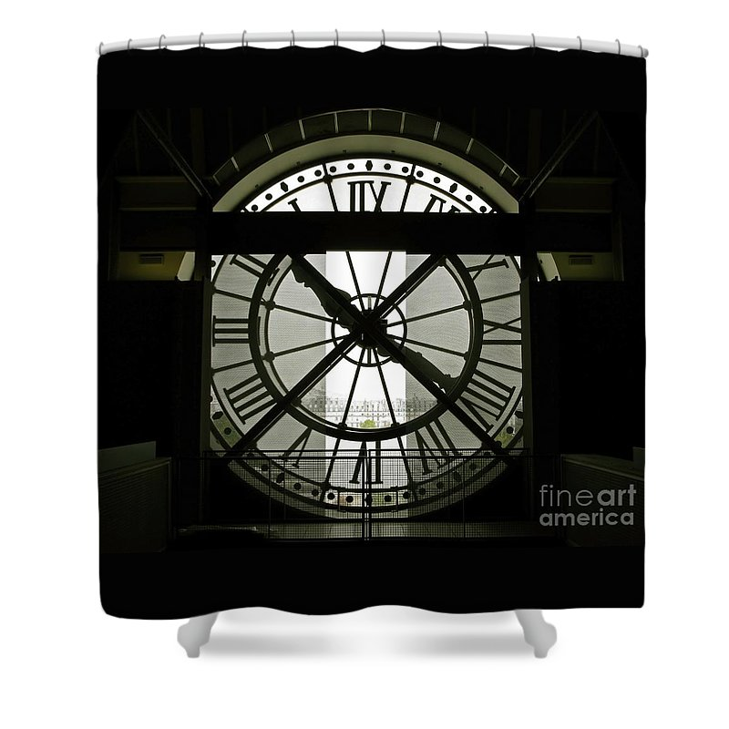 Clock Shower Curtain featuring the photograph Behind Time by Ann Horn