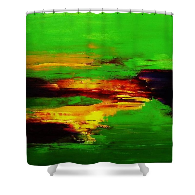 Abstract Shower Curtain featuring the painting Being And Becoming by Frances Ku