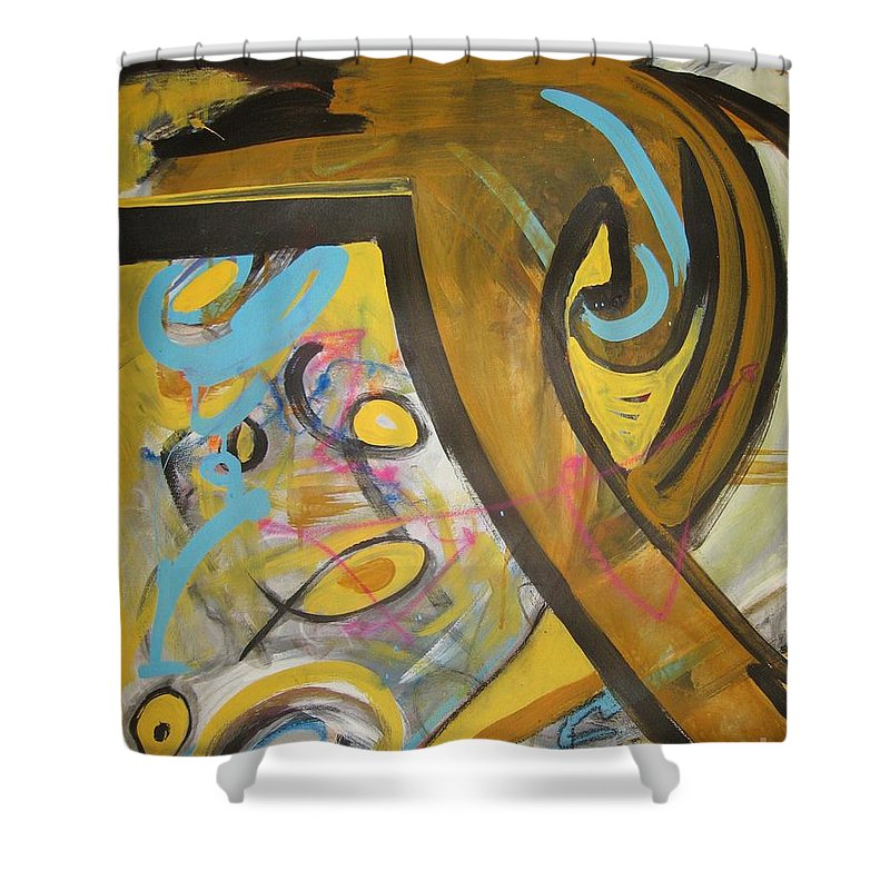 Abstract Shower Curtain featuring the painting Being Easy Original Abstract Colorful Figure Painting For Sale Yellow Umber Blue Pink by Seon-Jeong Kim