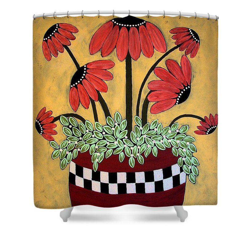 Daisy Shower Curtain featuring the painting Bejeweled by Linda Stewart