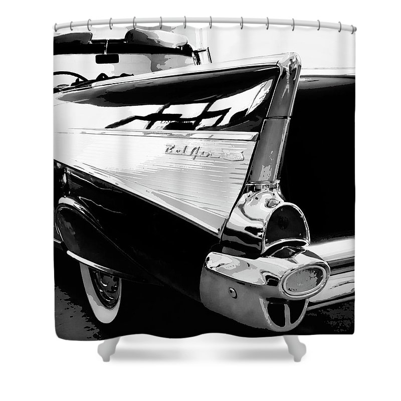 Vintage Cars Shower Curtain featuring the photograph Bel Air Bw Palm Springs by William Dey