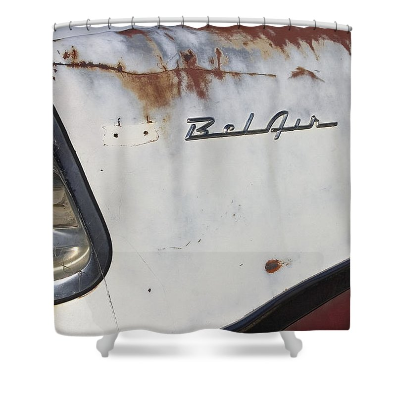 Car Shower Curtain featuring the photograph Bel Air Fin by J L Woody Wooden