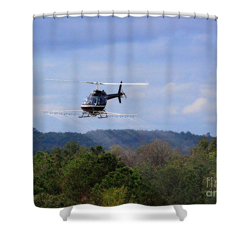 Helicopter Shower Curtain featuring the photograph Bell 206 Helicopter by Kimberly Saulsberry