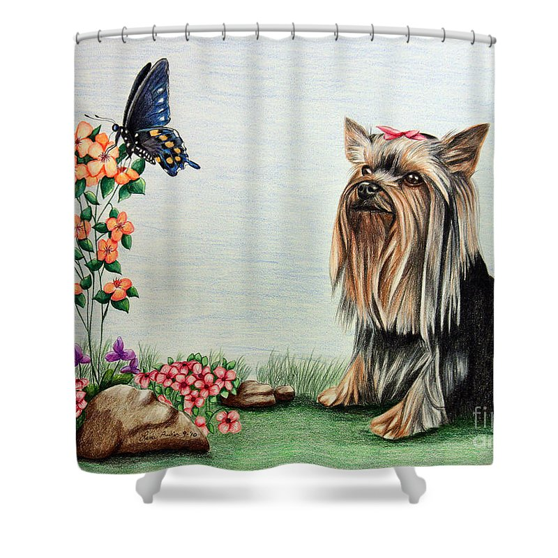 Paper Shower Curtain featuring the drawing Bella by Lena Auxier