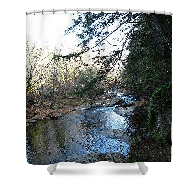 River Shower Curtain featuring the photograph Belvidere Junction Stream Vermont by Barbara McDevitt
