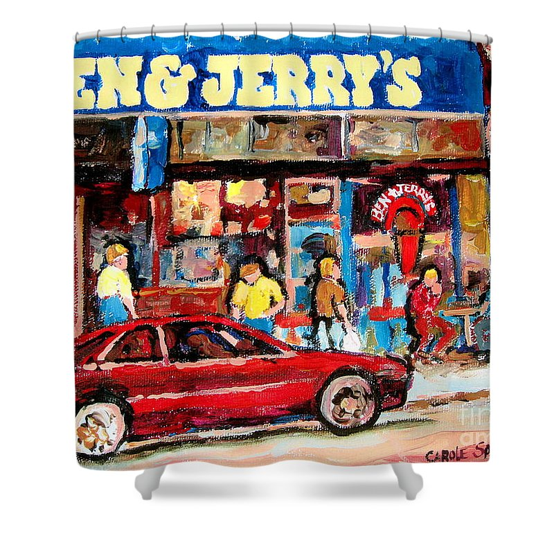 Cafescenes Shower Curtain featuring the painting Ben And Jerrys Ice Cream Parlor by Carole Spandau