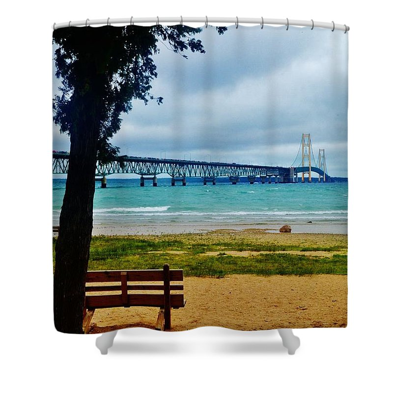 Shower Curtain featuring the photograph Bench And A Big Mac by Daniel Thompson