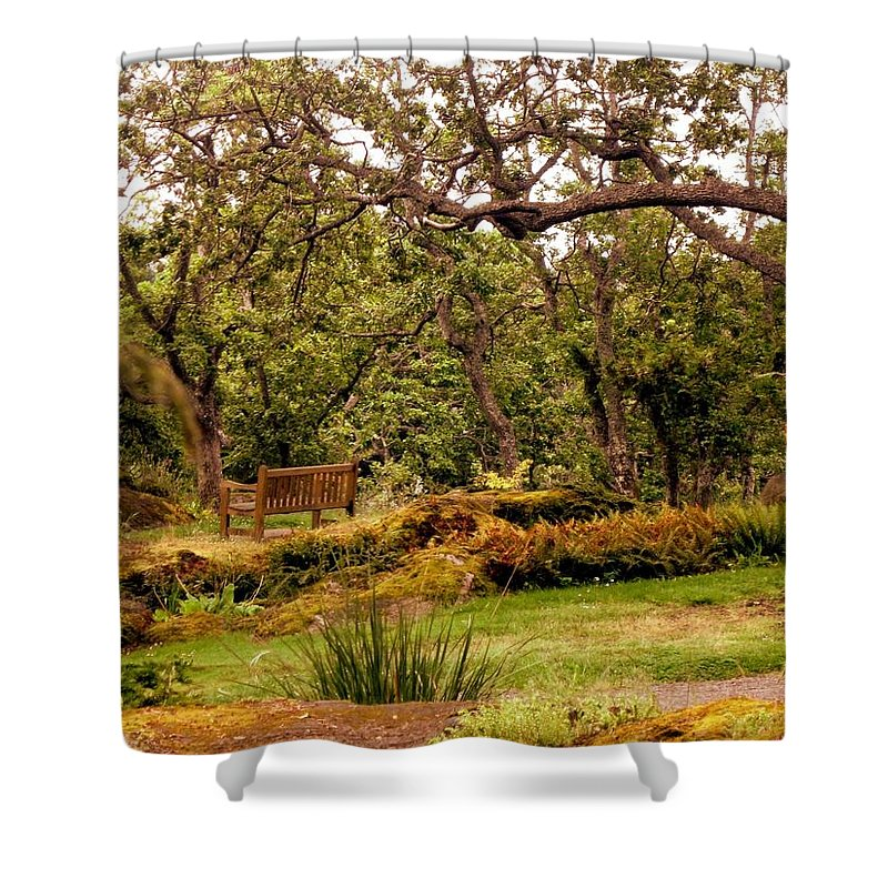 Bench Shower Curtain featuring the photograph Bench In The Garden by Lena Photo Art