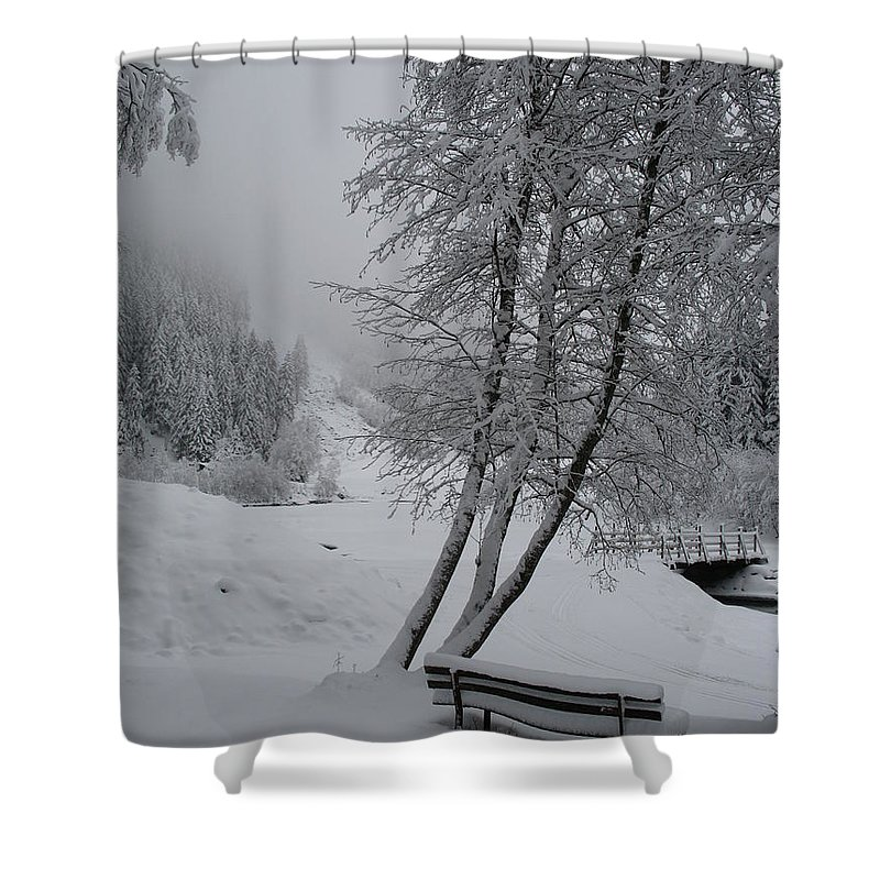 Bench Shower Curtain featuring the photograph Bench In The Snow by Christiane Schulze Art And Photography