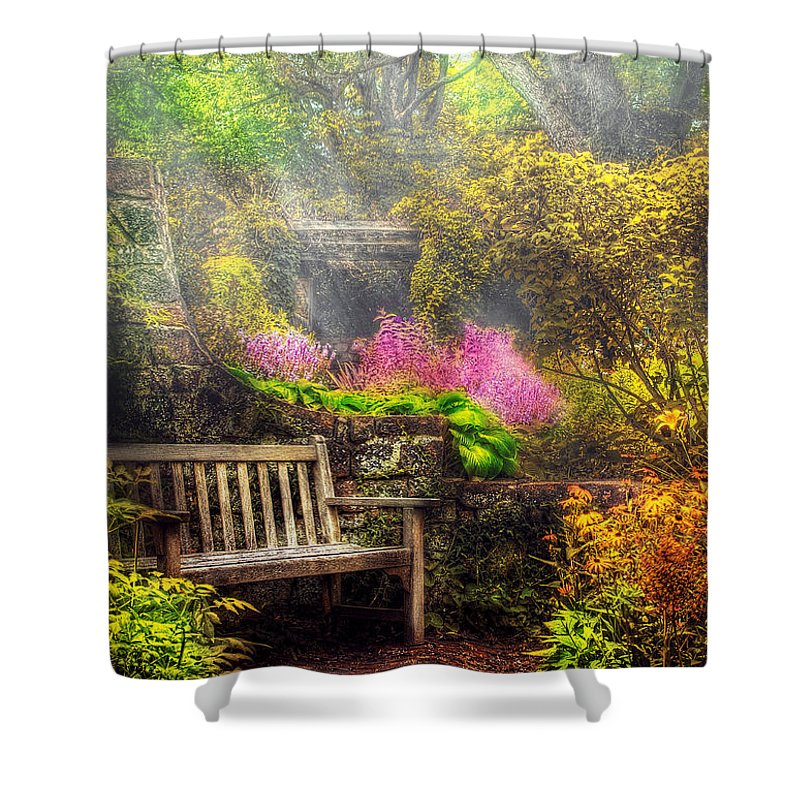 Savad Shower Curtain featuring the photograph Bench - Tranquility II by Mike Savad