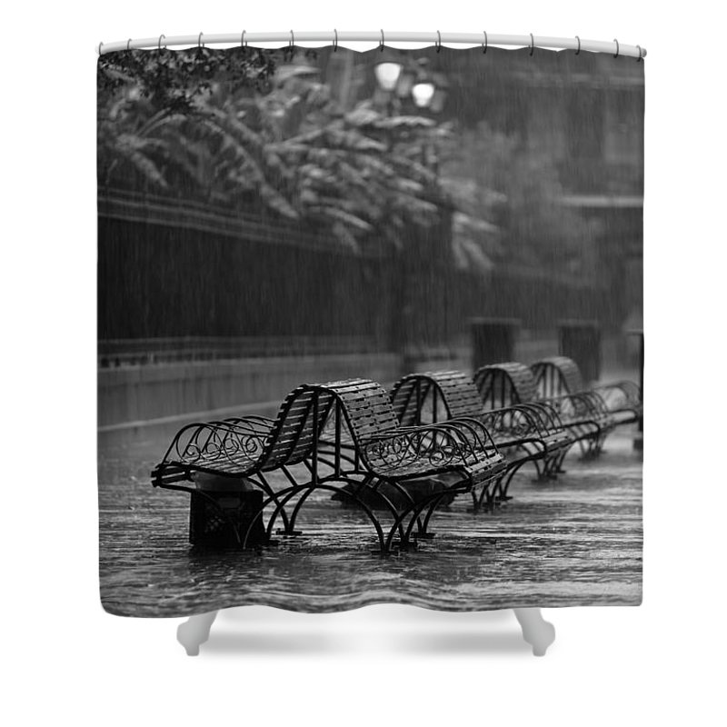 Louisiana Shower Curtain featuring the photograph Benches In The Rain Bw by Susie Hoffpauir