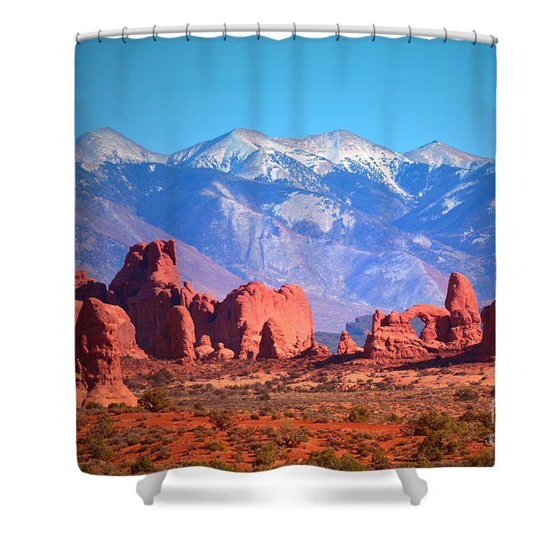 Arches National Park Shower Curtain featuring the photograph Beneath Blue Skies by Tara Turner