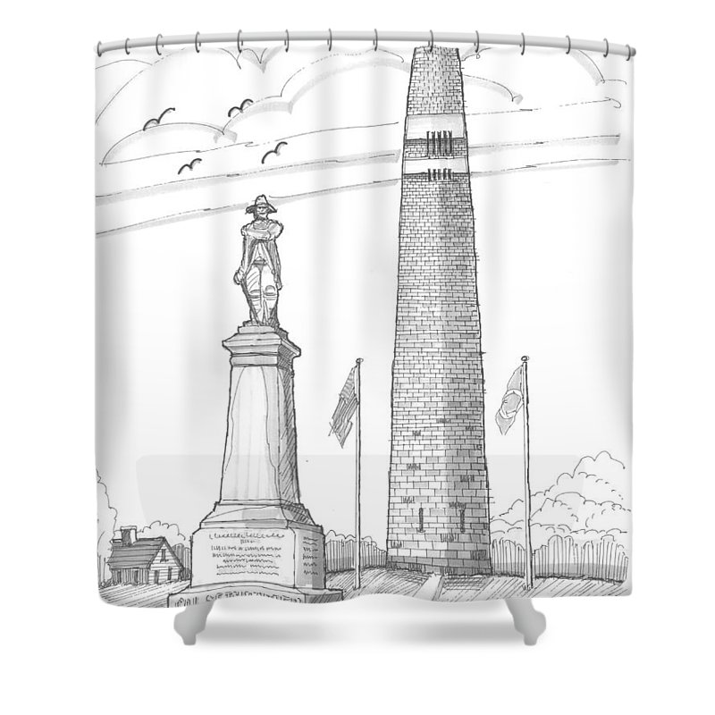 Bennington Battle Monument Shower Curtain featuring the drawing Bennington Battle Monuments by Richard Wambach