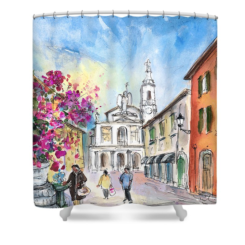 Travel Shower Curtain featuring the painting Bergamo Lower Town 01 by Miki De Goodaboom