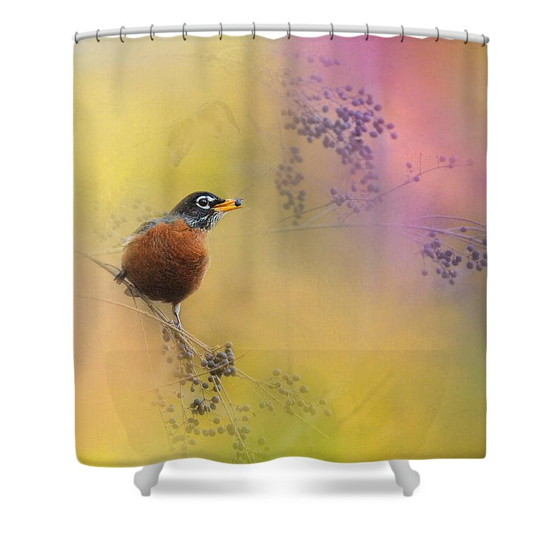 Jai Johnson Shower Curtain featuring the photograph Berries In The Woods by Jai Johnson
