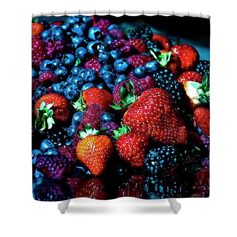 Serving Dish Shower Curtain featuring the photograph Berrylicious by Daniela White Images