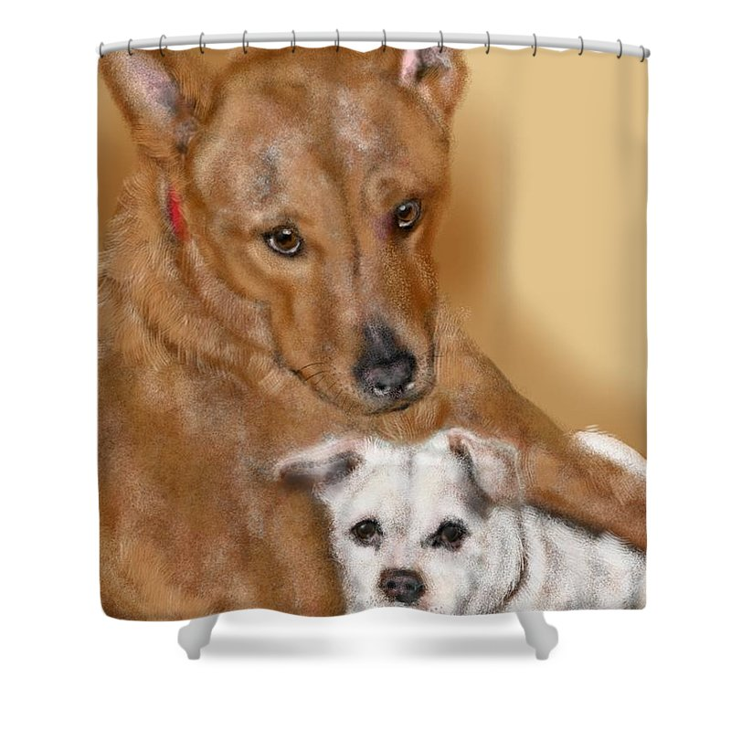 Two Dogs Shower Curtain featuring the painting Best Buds by Lois Ivancin Tavaf