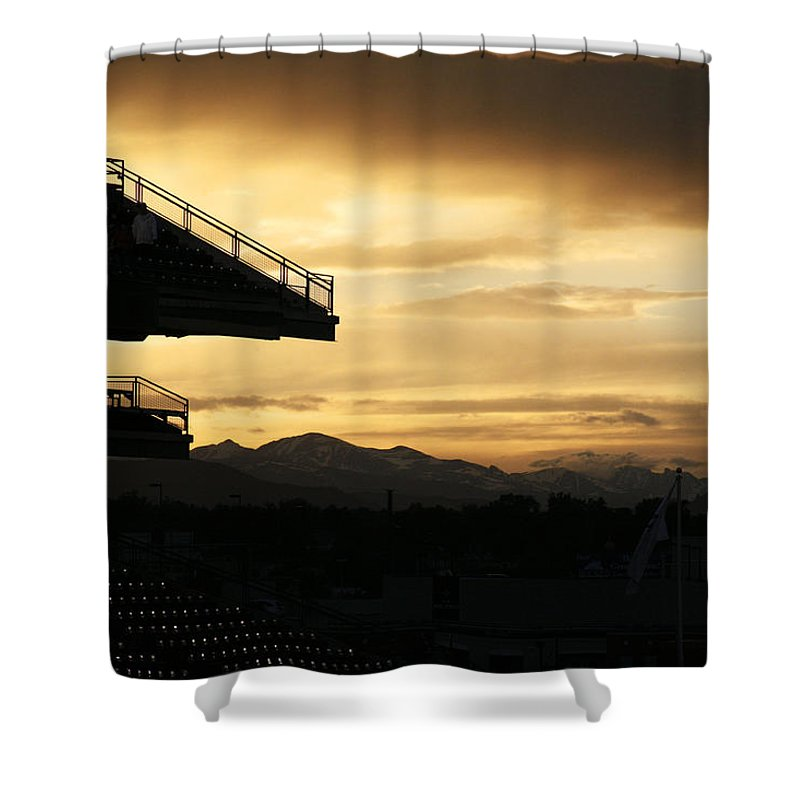 Americana Shower Curtain featuring the photograph Best View Of All - Rockies Stadium by Marilyn Hunt