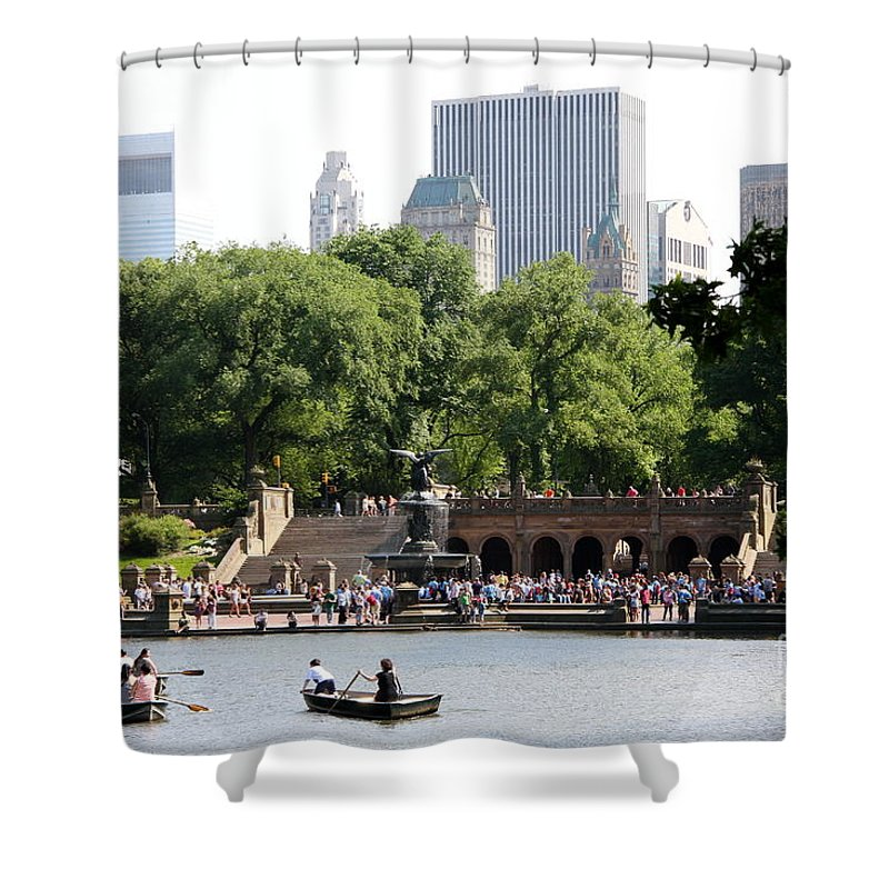 Bethesda Terrace Shower Curtain featuring the photograph Bethesda Terrace And Fountian Nyc by Christiane Schulze Art And Photography