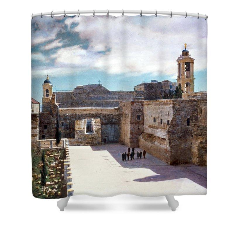 Vintage Shower Curtain featuring the photograph Bethlehem 1950 by Munir Alawi