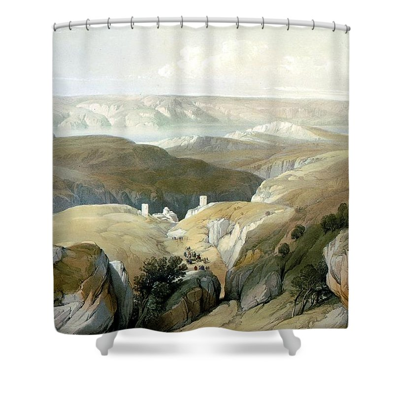 Bethlehem Desert Shower Curtain Featuring The Photograph Bethlehem Desert.  The Road To Mar Saba Convent