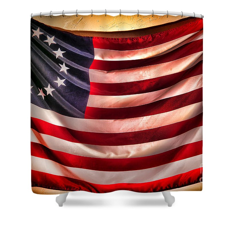 Flag Shower Curtain featuring the photograph Betsy Ross Flag by Olivier Le Queinec