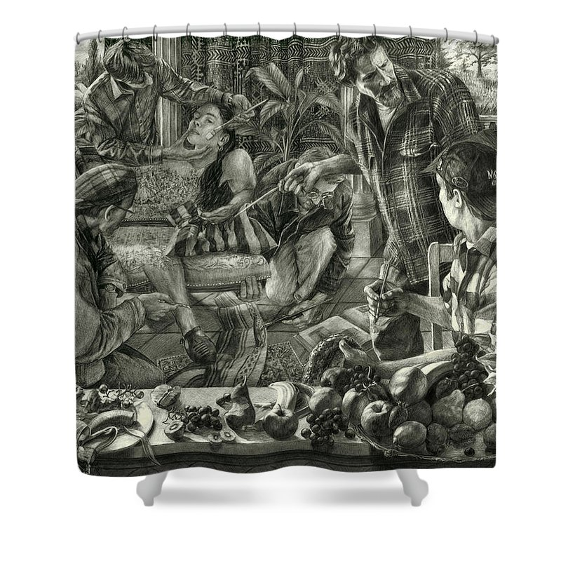 Portrait Shower Curtain featuring the drawing Beyond Reality by Kenneth Cobb