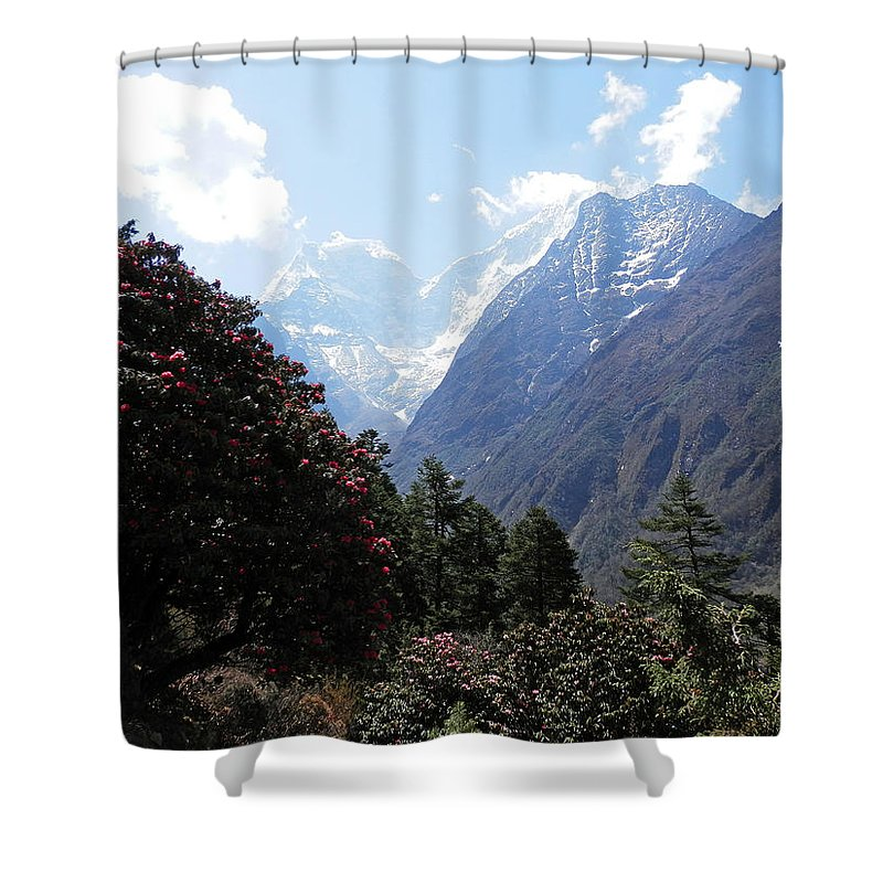 Rhododendrons Shower Curtain featuring the photograph Beyond The Rhododendrons 1 by Pema Hou