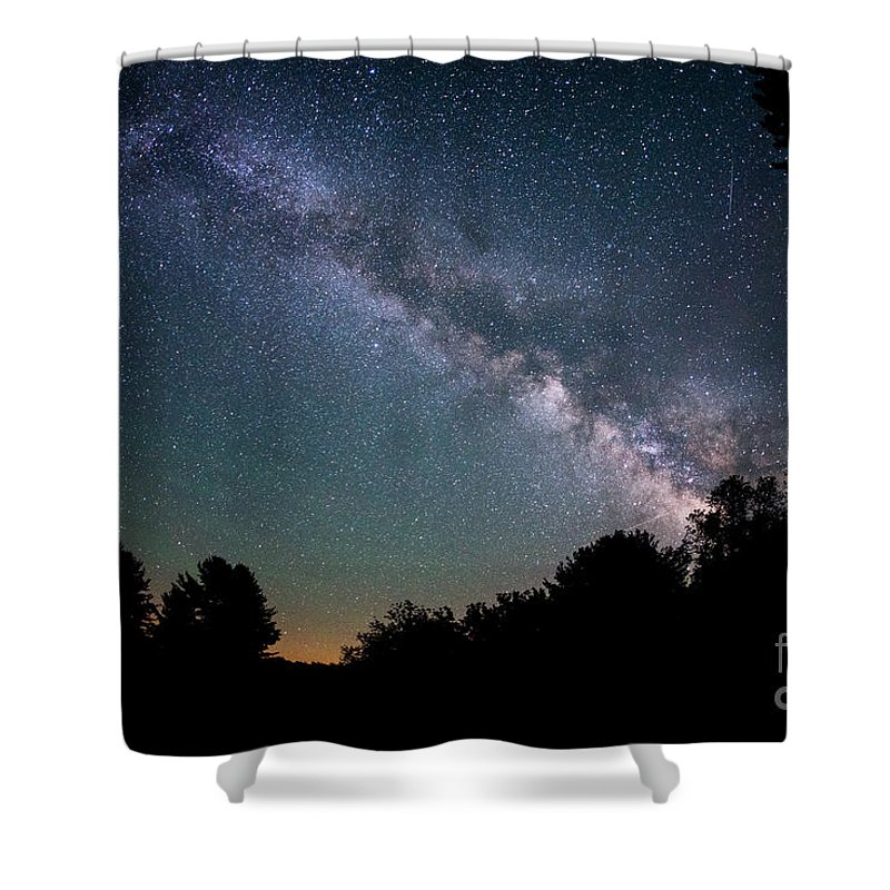 Milky Way Mike Shower Curtain featuring the photograph Beyond The Tree Tops by Michael Ver Sprill