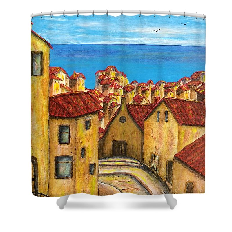 Pamela Allegretto Shower Curtain featuring the painting Biagi In Tuscany by Pamela Allegretto