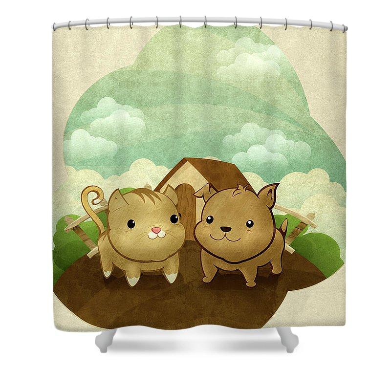 Pets Shower Curtain featuring the digital art Bichos by Por Caio Ramos