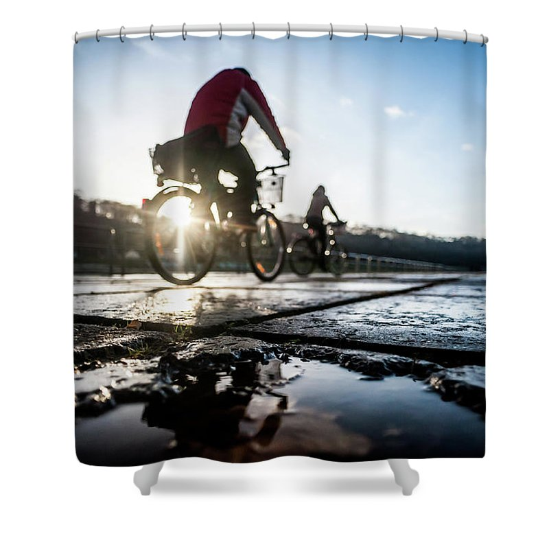 People Shower Curtain featuring the photograph Bicycles by A. Aleksandravicius