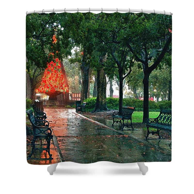 Alabama Shower Curtain featuring the digital art Bienville Sq. Christmas Tree by Michael Thomas