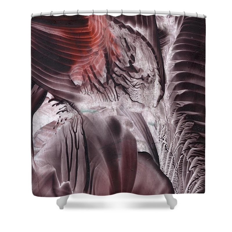 Encaustic Shower Curtain featuring the painting Big-bang Glimmer by Cristina Handrabur