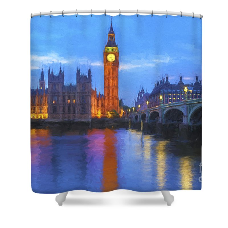 Art Shower Curtain featuring the painting Big Ben by Veikko Suikkanen