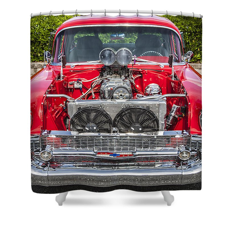 1957 Chevy Shower Curtain Featuring The Photograph Big Block 57 By Rich Franco